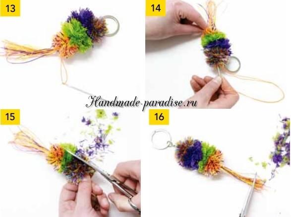 Брелок для ключей из помпонов в фото