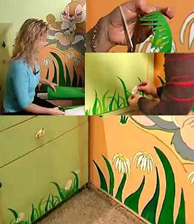 Декор для детской комнаты из пленки-самоклейки в фото