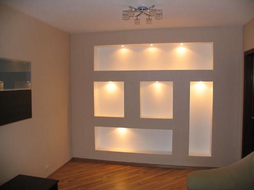 Изготовление декоративных конструкций из гипсокартона в интерьере в фото