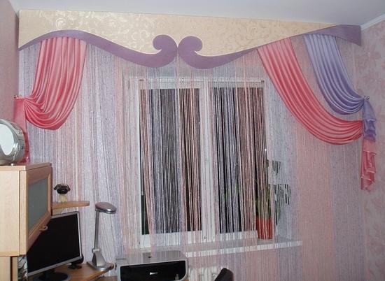 Как выглядят шторы лапша в интерьере в фото