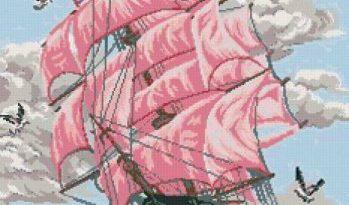Красивая салфетка из ткани с вышивкой, обвязанная крючком в фото