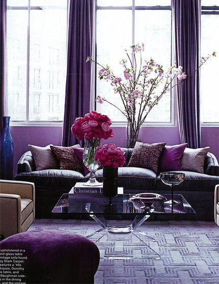 Лиловый цвет в интерьере помещений в фото