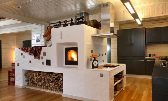 Отопление посредством печи двухэтажного коттеджа в фото