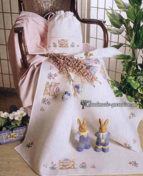 Пасхальная вышивка для скатерти. Схемы в фото