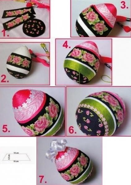 Пасхальные яйца с розами. Схемы вышивки в фото