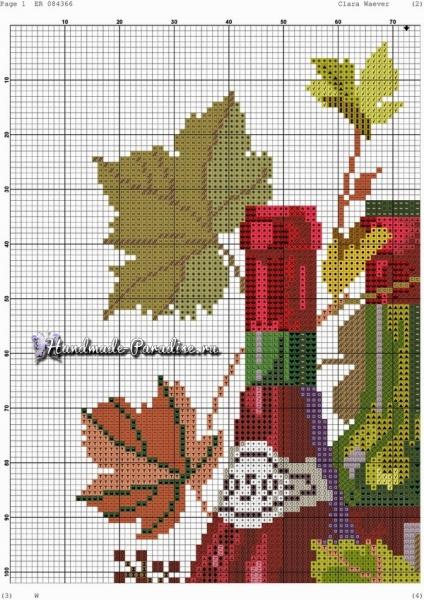 Вино и виноград. Схемы вышивки крестом в фото