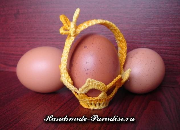 Вязание крючком корзинки для пасхальных яиц в фото