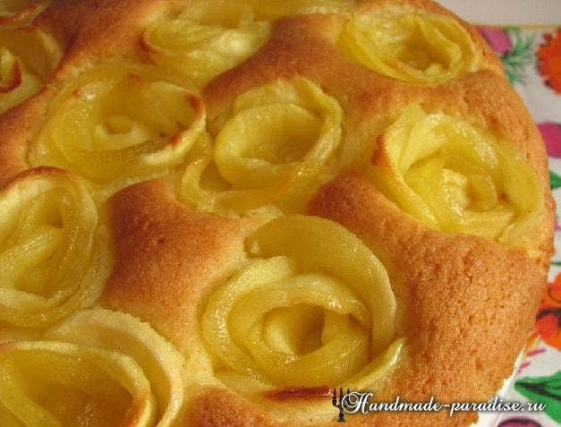 Яблочный пирог с розами в фото