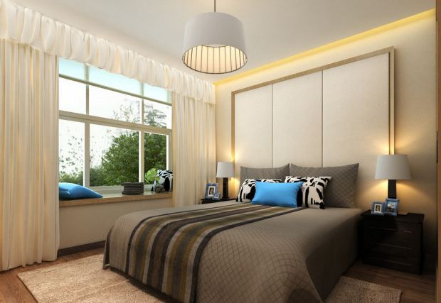 bedroom-interior-rendering-with-ceiling-light-and-bedside-lamps