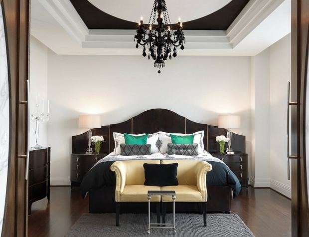 glamorous-bedroom-ideas-with-gold-colored-camel-back-sofa-and-black-crystal-chandelier-lighting