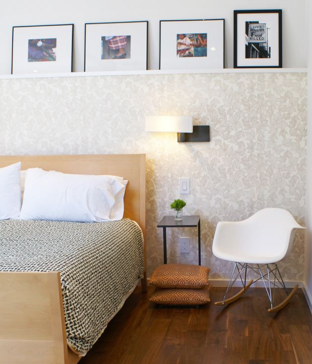 picture-ledge-shelf-bedroom-modern-with-armchair-decorative-pillows-headboard-interior-wallpaper-nightstands-and-bedside-tables-wall-ar