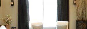 Темные шторы в интерьере в фото