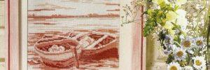 Монохромная вышивка картин. Схемы в фото