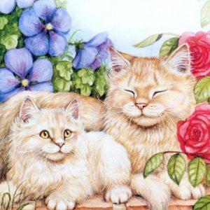 Схема вышивки крестом: «коты и котята» скачать бесплатно в фото