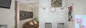 Белая кирпичная стена в интерьере гостиной в фото