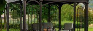 Садовая металлическая беседка своими силами в фото