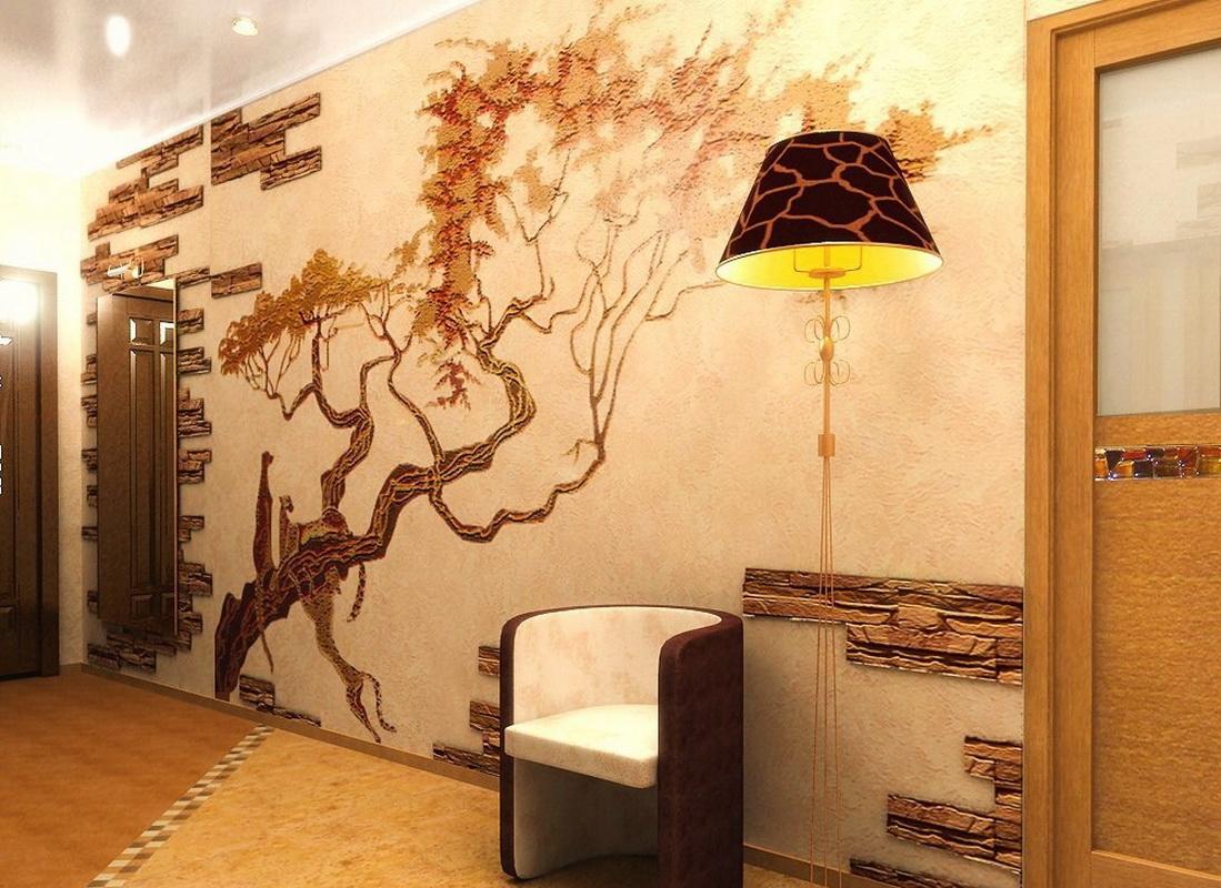 otdelka prihozhej dekorativnym kamnem i oboyami 19